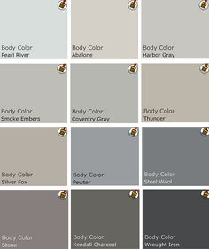Recommended palette of grey Benjamin Moore Paints from interview on Design Crisis?Kendall Charcoal is our bedroom color! Room Colors, Wall Colors, House Colors, Paint Colors, Colour Schemes, Color Combos, Paint Schemes, Pantone Azul, Benjamin Moore Paint