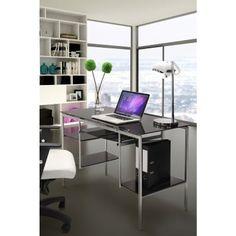 Jumper Glass Desk Espresso for $258 #CozyDays #OfficeDesks #Furniture