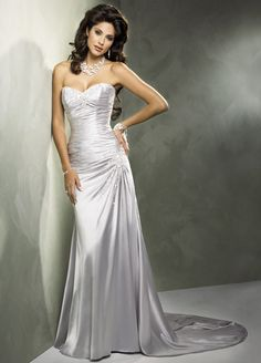 1000 images about silver wedding anniversary ideas on for Silver satin wedding dress