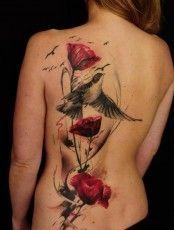 bird-red-rose-tattoo-on-girl-back