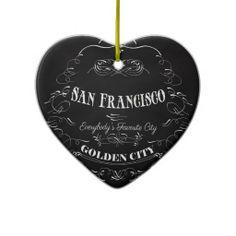 San Francisco California Art - The Golden City Christmas Ornaments