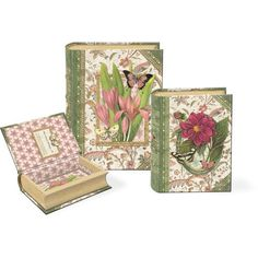 Spring Butterfly Garden Small Nesting Book Boxes ~ Punch Studio