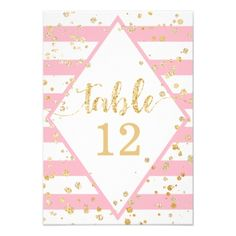 Gold Confetti Pink Stripes Wedding Table Numbers - wedding invitations diy cyo special idea personalize card