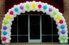 pink, blue, yellow, green, purple, rainbow, white, balloons, braided arch, grand opening, party, event, celebrate, helium, advertise