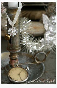 Vintage candlestick pocketwatch bling & tinsel