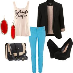 blue pants dressy outfit