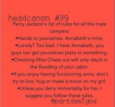 Percy Jackson's list of rules for all male campers