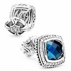 Scott Kay Square London Blue Topaz with Diamond Frame Cufflinks