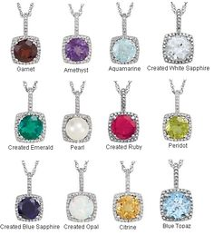 Sterling Silver Gemstone and Diamond Birthstone Necklaces