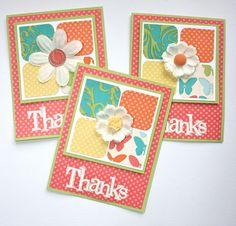 "by Karen Pederson... ""Thanks"" cards .... but it won't let me ""pin"" this from her blog, so visit her at karenpederson dot blogspot"