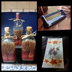 Decoupage, Bottle, Home Decor, The Creation, Flask, Home Interior Design, Decoration Home, Home Decoration