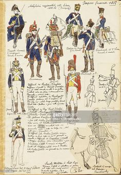 Foto stock : Uniforms of Artillery of Kingdom of France, by Quinto Cenni, color…