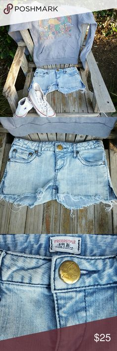 Free People jean shorts Free People jean shorts in a lifht wash denim . So cute for summer or anytime for hanging out . Free People Shorts Jean Shorts
