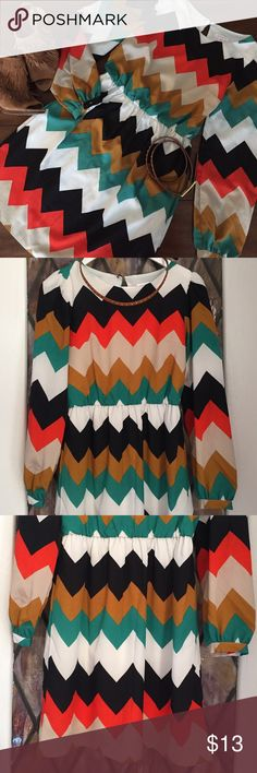 🍂Chevron Dress 🍁 Y'all... how cute is this dress for fall!? Chevron print dress with long sleeves and button cuff detail. Crew neckline with button closure in back. 100% polyester. Studded belt included. Size S. Good used condition! Xhilaration Dresses Long Sleeve