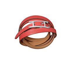 "Hapi 3 MM Hermes leather bracelet Epsom calfskin<br /><br />Silver and palladium plated hardware, 27.5"" long, 0.3"" wide, 7"" circumference.<br />"