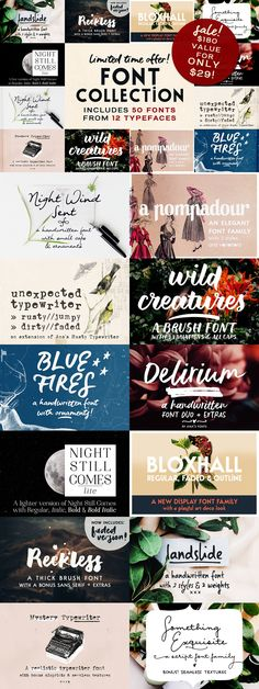 This bundle includes all the fonts I released in 12 families with 50 font files (plus extras!), that range in style from serif to sans to script. Handwritten Fonts, Typography Fonts, Lettering, Script Fonts, Font Combinations, Photography Marketing, Vintage Fonts, Brush Font, Graphic Design
