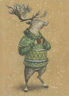 VERY RARE deer in sweater with mug by Lia Selina Russian modern postcard Hirsch Illustration, Deer Illustration, Christmas Illustration, Illustrations, Watercolor Illustration, Watercolor Art, Christmas Images, Christmas Art, Xmas