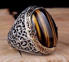 Turkish Handmade 925 sterling silver tigers eye Men's Ring Sz 10 us Free Resize   Jewelry & Watches, Men's Jewelry, Rings   eBay! #GoldJewelleryTurkish #men'sjewelry #men'sjewelry #handmadesilverjewelry