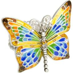 Heirloom Finds Multi Color Enamel and Crystal Oversized Butterfly Stretch Ring Heirloom Finds. Save 48 Off!. $16.99. A conversation piece for everyday wear!. Makes a Great Gift. Arrives Gift Boxed!. Enjoy some color and inspiration with this ring!. Gorgeous multi color butterfly ring. Ring stretches to fit sizes 5 to 10 Butterfly Stretch, Butterfly Ring, Jewelry Rings, Great Gifts, How To Make, How To Wear, Enamel, Ring Ring, Crystals