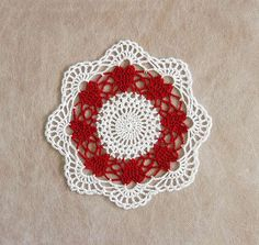 Red Hearts Crochet Lace Doily Romantic Circle of by NutmegCottage