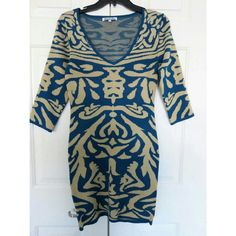 NWOT Stittetto's Sweater Dress 3/4 sleeve sweater unlined dress teal and beige stretch material Bust 16' inches across armpit to armpit Waist 13.5' inches across Hips 16 inches across Length 33 inches shoulder to hem Stittetto's Dresses Mini