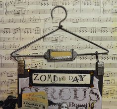 """OOAK Original Mixed Media Halloween Canvas """"Zombie Day"""" at the Circus - Hanger by thecuriouscrowdesign on Etsy https://www.etsy.com/listing/475249525/ooak-original-mixed-media-halloween"""