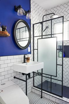 Bathroom Renovations, Bathrooms, Console Sink, Penny Tile, Glass Shower Doors, Los Angeles Homes, Bathroom Wall, French Doors, Geometric Shapes