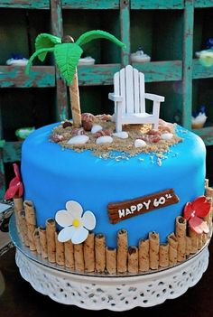 how cute is this cake.for any birthday! For me for next year, since I'll be Beach Themed Cakes, Beach Cakes, Fancy Cakes, Cute Cakes, Fondant Cakes, Cupcake Cakes, Fondant Cake Toppers, Bolo Chanel, 60th Birthday Cakes