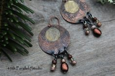 Copper and Brass Beaded Earrings Mixed Metal by 45thParallelStudio