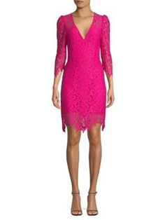 Nanette Lepore Late Night Lace Sheath Dress In Pink Pink Photo, Lace Sheath Dress, Nanette Lepore, World Of Fashion, Luxury Branding, Pink Dress, Dress Outfits, Clothes For Women, Night