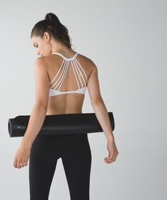 Show off this extra-strappy bra under your favourite open-back tank as you flow through practice.