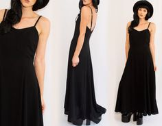 90s black Minimalist Maxi Dress  backless A line / Long by Idlized
