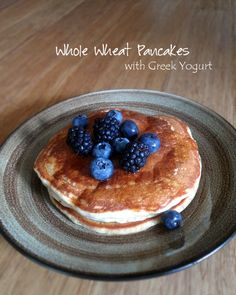 These fluffy pancakes, made with whole wheat flour and Greek yogurt, are perfect for a relaxing breakfast on the weekend.