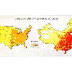 Population Density Lower 48 Vs China Map Maps Cartography Geography Topography Mapping Mappe Carte Mapa Karta Us Usa Unitedstates