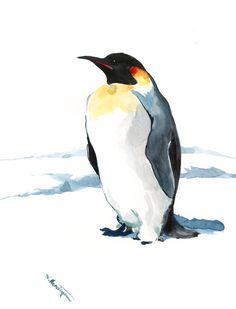 Penguin Artwork emperor penguin Original watercolor painting, 12 X 9 in, penguin lover art, nursery art, children art, natural history by ORIGINALONLY on Etsy