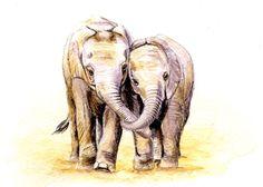 Baby elephant friends, 5x7 PRINT child wall decor, nursery art, baby art, boys room, earthspalette by Earthspalette on Etsy https://www.etsy.com/ca/listing/121925237/baby-elephant-friends-5x7-print-child