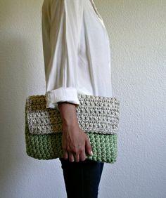 The Colmar Clutch - Mint & Wheat, size Medium, crochet clutch ($30.00) - Svpply