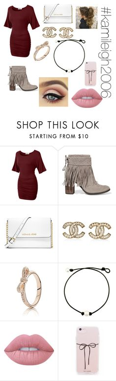 """""""Going out on my first date"""" by kcartee1406 on Polyvore featuring LE3NO, Schutz, MICHAEL Michael Kors, Chanel, Pandora, Lime Crime and kamileigh2006"""