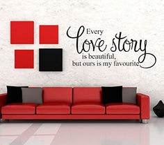 Every Love Story is Beautiful But Ours is My Favorite Quote Vinyl Lettering Words Wall Art Quote Decals Wall Sticker Home Decor ** Want to know more, click on the image. (This is an affiliate link) #DIYHomeDecorAccents
