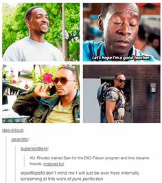 The one where Rhodey and Sam go way back: | 17 Perfect Marvel Headcanons That Will Give You All The Feels