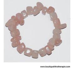 Joli bracelet grandes pierres baroques d'environ 10 mm de quartz rose naturel poli avec une très belle couleur rose en vente BoutiqueLithotherapie.com