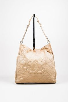Beige Chanel Leather  CC  Quilted Chain Strap
