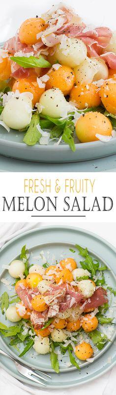 Fresh & Fruity Melon Salad with Grana Padano & Prosciutto // Frisch und fruchtiger Melonensalat mit Grana Padano und Prosciutto