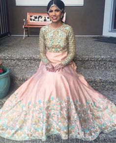 Our stunning client  in a gorgeous one of kind piece for her engagement!  #allthingsbridal #indianfashion #wedding #bride #style #fashion #designer