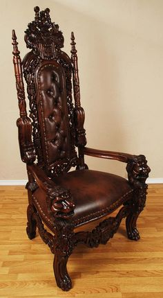 6' Carved Mahogany King Lion Gothic Throne Chair Brown finish Brown leather-ette