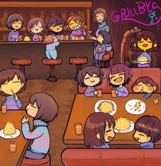 Remember when every time grillbys says he'll make your burger or smthing but he never give it to you?Ya,frisk is getting her revenge Undertale Comic Funny, Undertale Memes, Undertale Ships, Undertale Drawings, Undertale Cute, Undertale Fanart, Frisk, Desenhos Love, Pokemon
