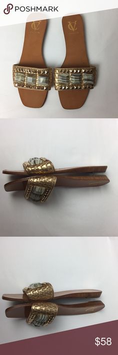Vince Camuto VC Signature Gold Beaded Slide Sandal Lightly used. Pictures are part of my description.Please. Heck all carefully prior to purchase. Vince Camuto Shoes Sandals