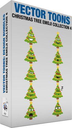 Christmas Tree Emoji Collection 4 #cartoon #clipart #vector #vectortoons #stockimage #stockart #art