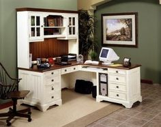 White, L-Shaped desk with wood stained top and backboard
