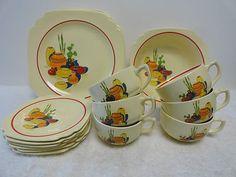 Homer Laughlin China Company   21 Pc Set Mexicana Pattern Dinnerware,homer Laughlin China Co.,vintage ...